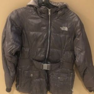 Northface Girls down belted Jacket Size 14/16